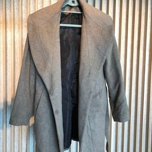 Calvin Klein brown belted cocoon peacoat